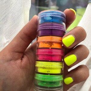 6 цветов/8 цветов/12 цветов/партия неоновый Пигмент Порошок для ногтей Блестящий фосфорный градиент Пыль для дизайна ногтей Пудра с пайетками декор для маникюра