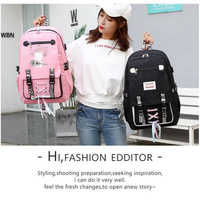Cor-de-rosa lona mochila feminina sacos de escola para adolescentes meninas estilo preppy grande capacidade usb voltar pacote mochila juventude bagpack 2019