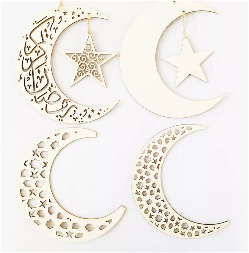 Islamic Deco Wood Eid Mubarak Garland Hanging Pendant Muslim Ramadan Party Decor Aid Mubarek Wooded Garland