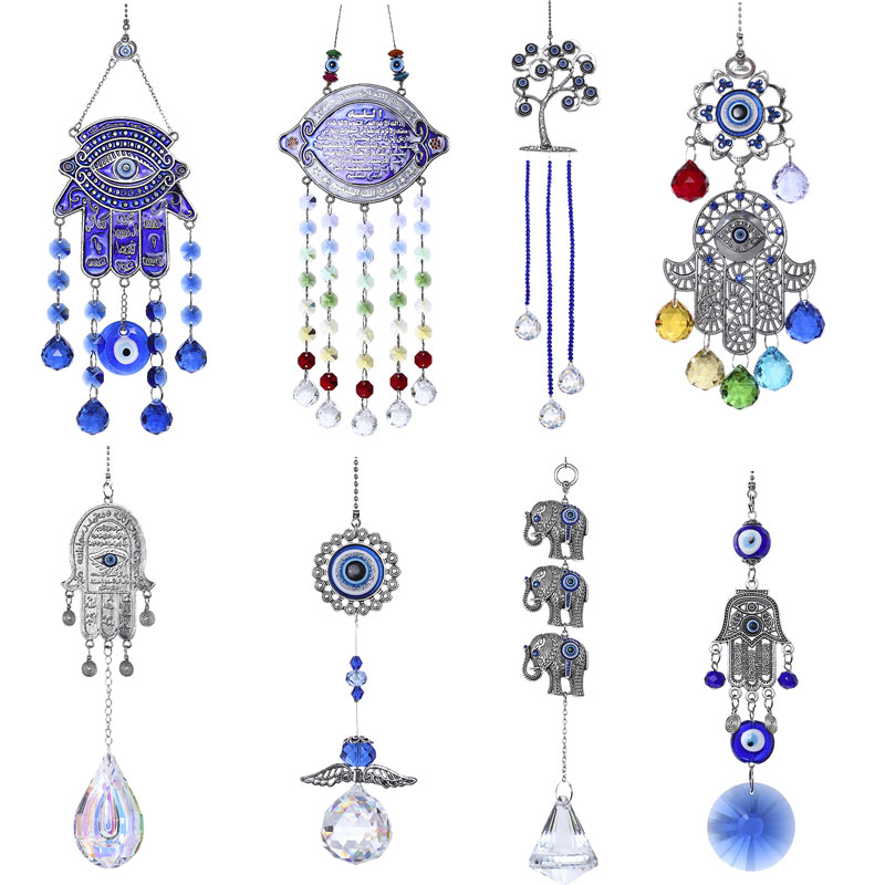 H&D DIY Lucky Hamsa Turkish Blue Evil Eye Crystal Charm Suncatcher Pendant Wind Chime Amulet Home Wall Garden Hanging Decoration