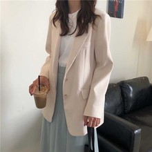 2019 Stylish Women All Match White Brief Autumn Office Ladies Vintage Solid Fresh Elegant Parties Feminine Loose Blazers solid