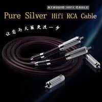 ATAUDIO Pure Silver Hifi RCA Cable High Quality Silver 2RCA Male to Male Audio Cable