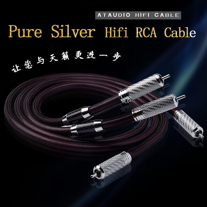 ATAUDIO pur argent Hifi RCA câble haute qualité argent 2RCA mâle à mâle câble Audio