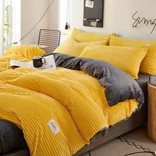 Winter Bedding Set For Home Solid Color Quilt Cover For Bedroom Keep Warm Duvet Covers Coral Velvet Bed Cover Nordic Blanket