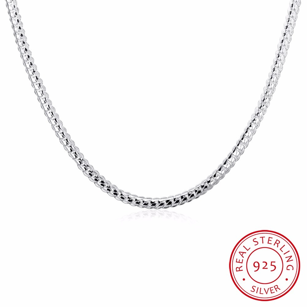 Fashion Men's Necklace 925 Sterling Silver Short Necklace 50cm Solid Silver Snake Chain Charm Jewelry Birthday Present For Men's