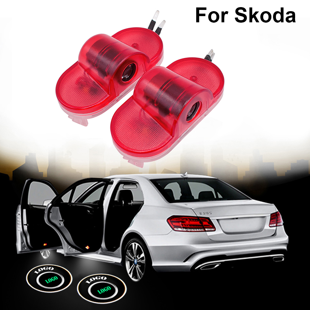 2 pcs LED Car Logo Door Welcome Light Laser Projector Ghost Shadow Lamp car accessories For Skoda Octavia A5 2007 -2013