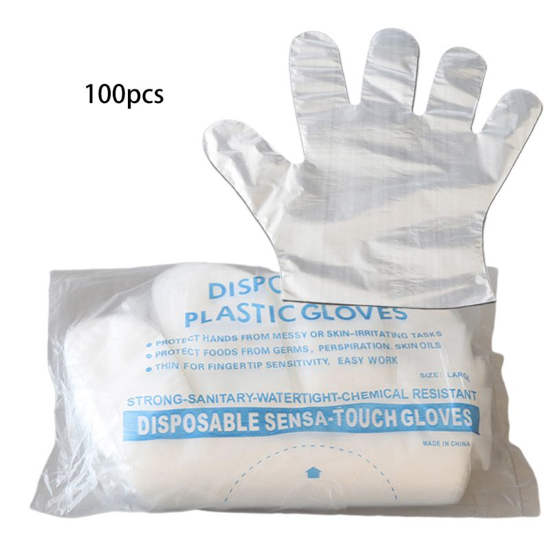 100Pcs Plastic Disposable Polyethylene Clear Gloves A0NF