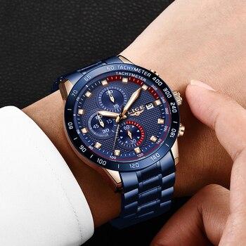 LUIK Hot Fashion Business Mannen Horloges Analoge Sport Klok Volledige Staal Waterdicht Horloge Voor Mannen Relogio Masculino Mannelijke Klok