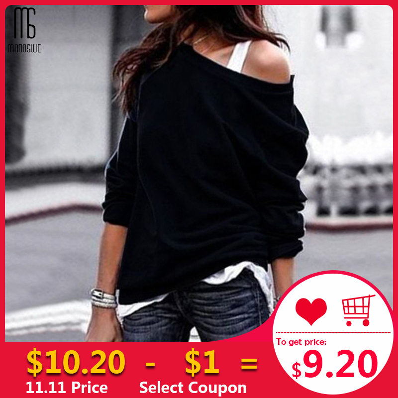 Manoswe Women Fashion Long Sleeve Solid Casual Sweatshirts Sexy Off Shoulder Hoodie Loose Black Pullover Tops Autumn Winter