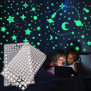 Luminous Wall Sticker 3D Stars Dots Moon Universe Kids Room Bedroom Home Decoration Decal Glow In The Dark DIY Bubble Stickers