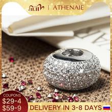 Athenaie genuine 925 prata esterlina encantos grânulo pave claro cz caber todos os europeus charme pulseira autêntico jóias presente