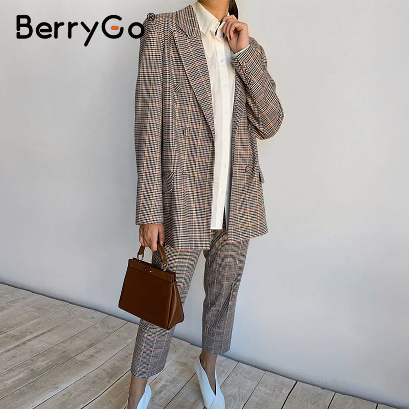 BerryGo Womens Business Suit Plaid Pant Suits Female Office Ladies Double Breasted Ladies Suits Spring Two-piece Blazer Suit Set