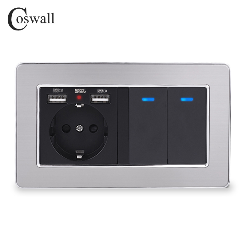 COSWALL Russia Spain EU Standard Wall Socket With 2 USB Charge Port + 2 Gang 1 Way On / Off Light Switch Stainless Steel Frame