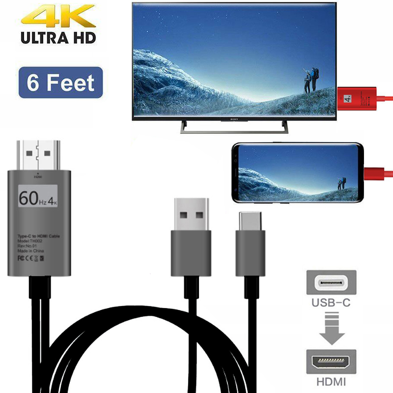 USB 3.1 USB-C Type-C to 4K HDMI HDTV Adapter Cable For Samsung S8 Note 8 Macbook