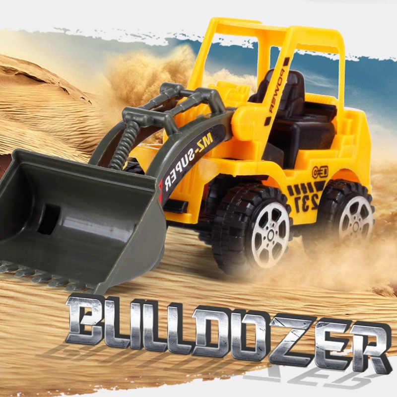 6 Gaya Mini Diecast Konstruksi Plastik Rekayasa Kendaraan Mobil Excavator Model Mainan untuk Anak Anak Laki-laki Hadiah