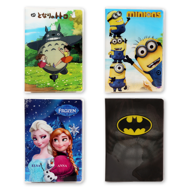 Cute Cartoon Animals Leather Passport Cover Men Women Ticket ID Card Holder Spider-Man Superman Travel Passport Holders 14*10cm