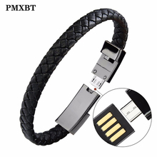 Outdoor Portable Leather Mini Micro USB Bracelet Charger Data Charging Cable Sync Cord For Samsung Galaxy S7 Android Phone