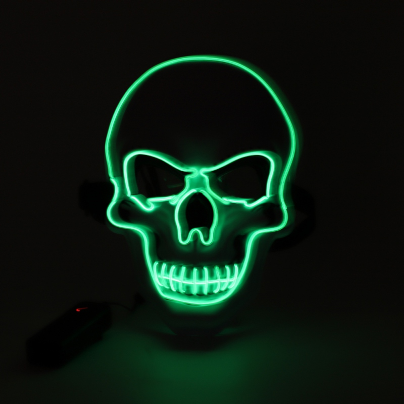 Props Glow In The Dark Mask Glowing EL Wire Woven Skull Shape Halloween Light Up Mask Carnival Masquerade Cosplay Costume