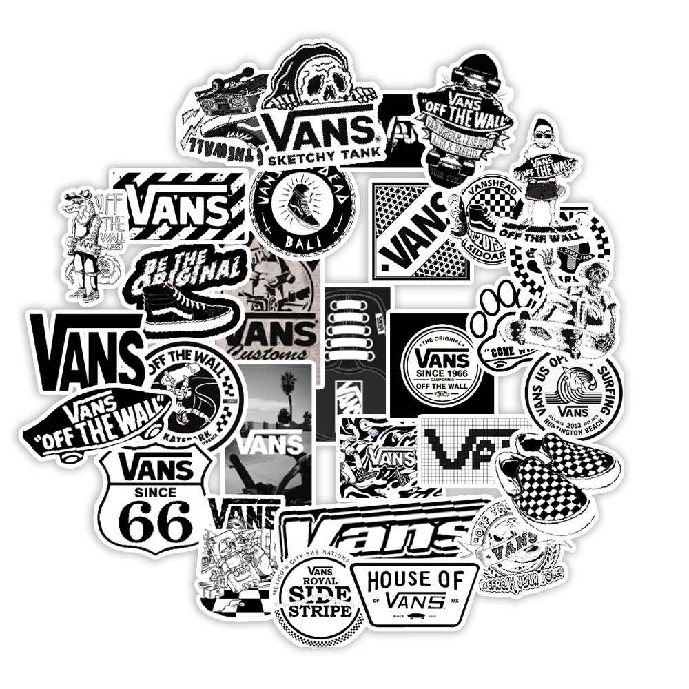50PCS White and Black Vans Stickers For Scrapbooking Laptop Guitar ...