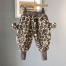 Girls 2019 winter new childrens pants cashmere plus velvet leg Girl Cartoon Leopard Harem Pants kids casual long trousers