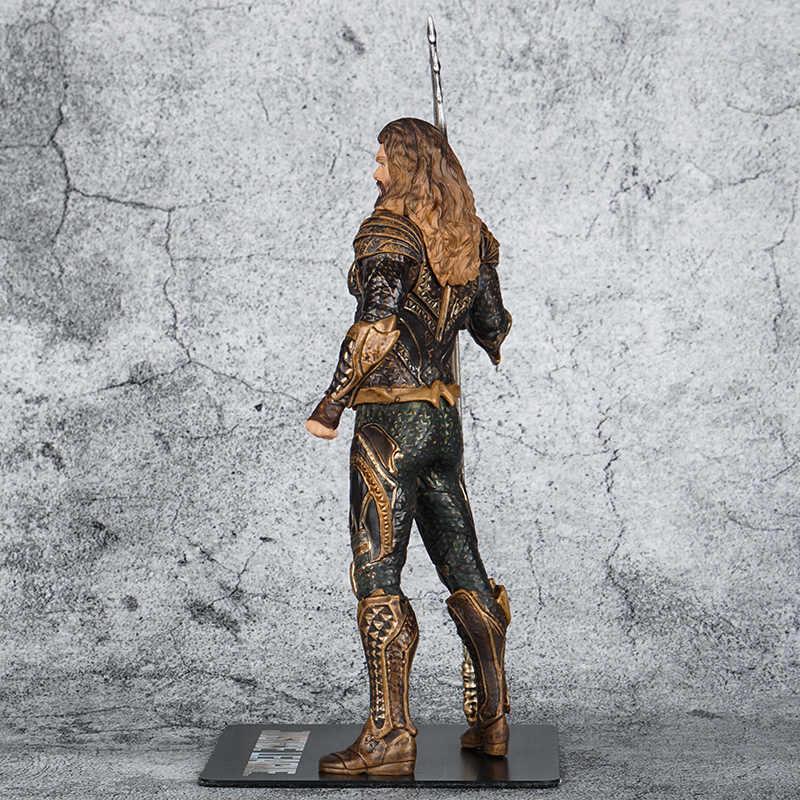 Filme Aquaman 18 centímetros Ação PVC Figuras Brinquedos Super Hero Estátua Aquaman com Tridente Colecionáveis Brinquedos Modelo Para Presentes de Natal