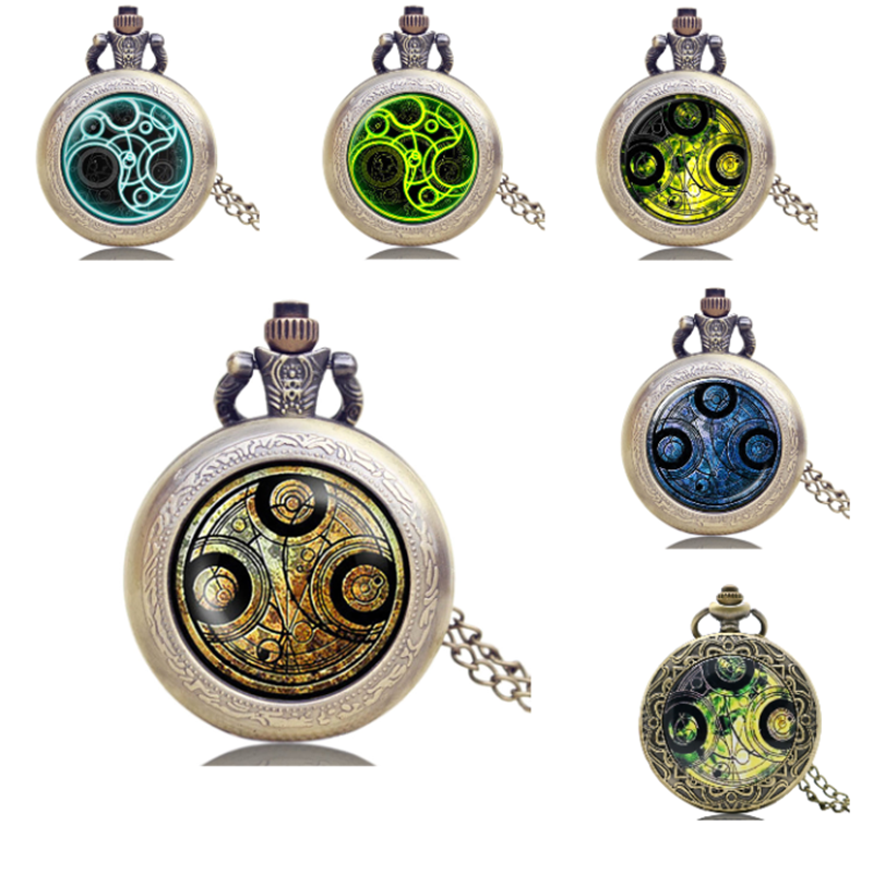 Dr. Who Quartz Pocket Clock Necklace Pocket Watches Exquisite Beautiful Pendant Clock With Chain For Men Women Gifts