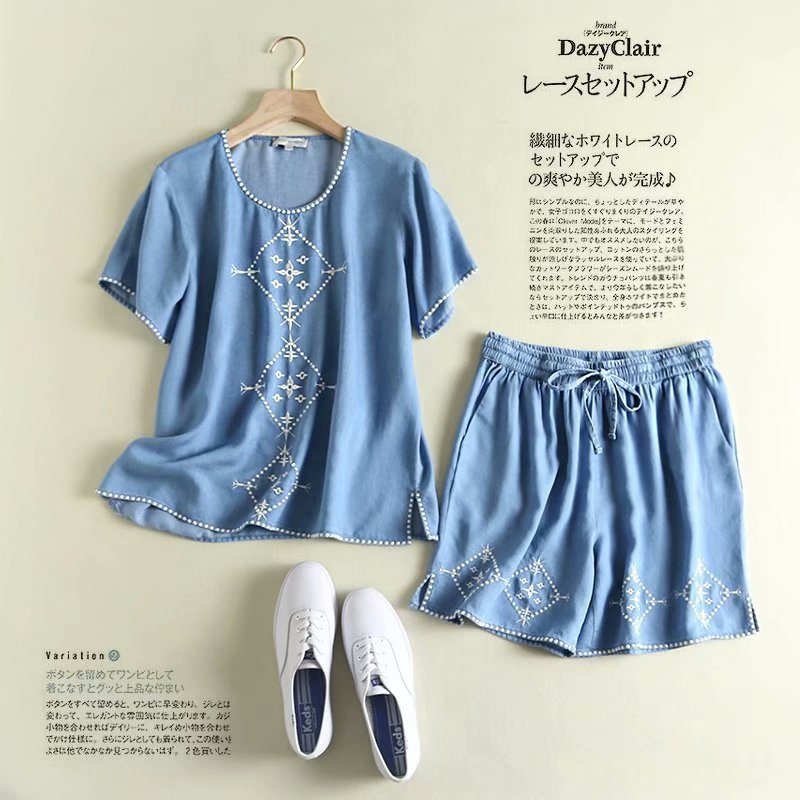 WOMEN'S Dress Summer Thin Section Fashion Loose Embroidered Tencel Cowboy Short-sleeved Top Shorts Thin Set S27843