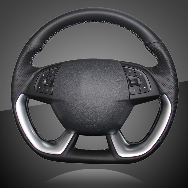 Car Braid On The Steering Wheel Cover for Citroen DS5 DS 5 DS4S DS 4S Interior Hand Sewing Auto Steering Wheel Covers Leather