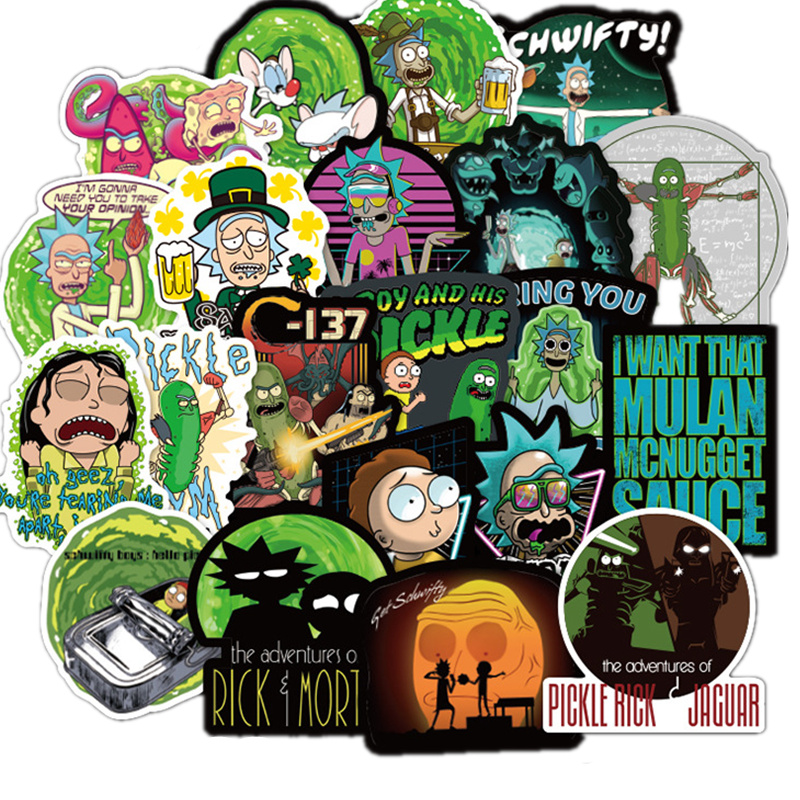 100 Pcs American Drama Rick And Morty Stickers Decal For Luggage Snowboard Car Fridge Car- Styling Laptop Stickers