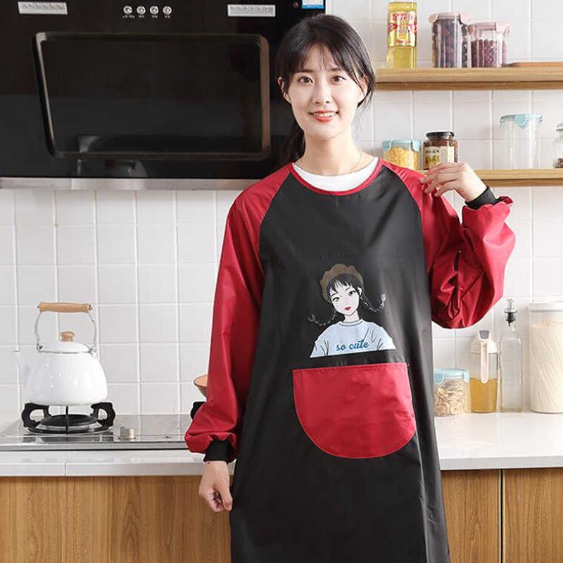 חמוד יפני סינר ארוך שרוולים בית מטבח עמיד למים ושמן הוכחה אופנה שמלת מטבח בישול סינר