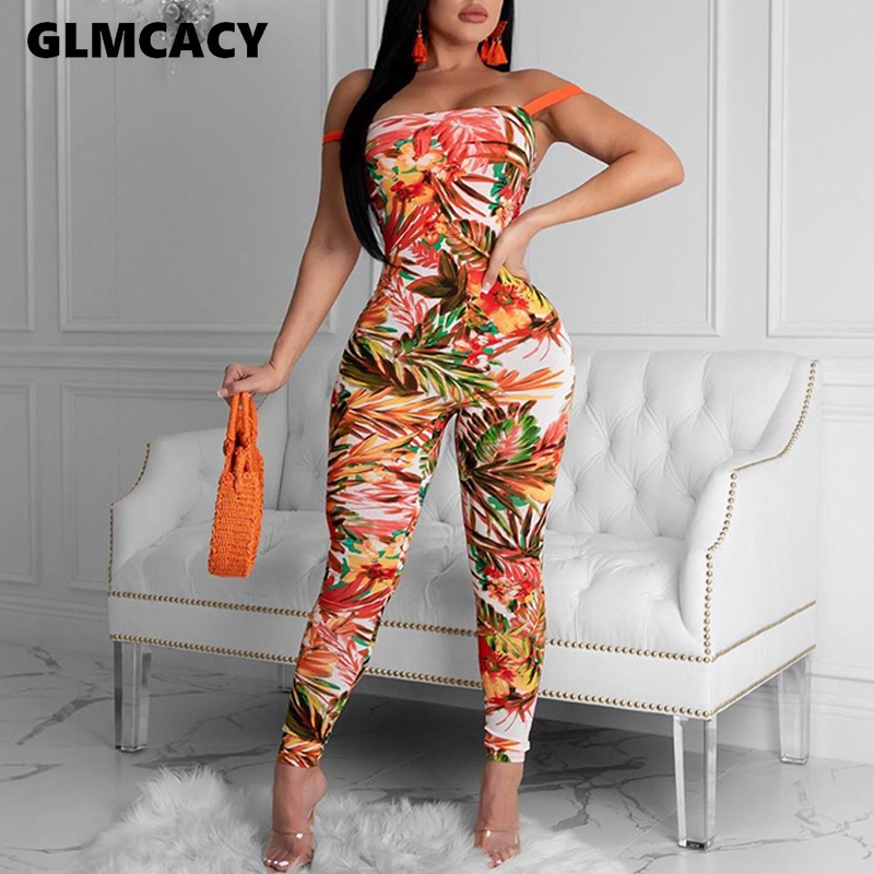 Women Plus Size Floral Printed Bandage Bodycon Jumpsuit Backless Sexy & Club Skinny Overall