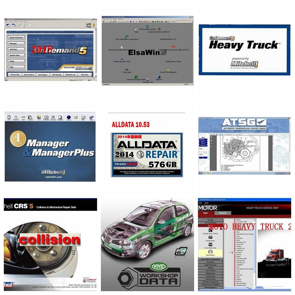 2020 Hot Alldata Mitchell Software AutoData 3.38+All Data 10.53+mitchell On Demand 2015+ElsaWin+Vivid+atsg 24 In 1tb HDD USB 3.0