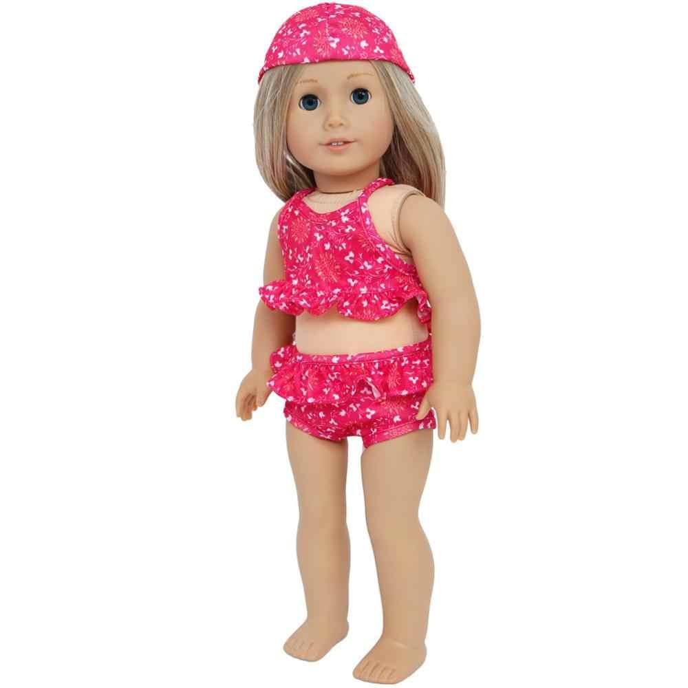 1 zestaw śliczne różowe plażowe stroje kąpielowe akcesoria dla lalek kwiatowy bikini stroje kąpielowe z odzież z kapturem dla amerykańska dziewczyna lalka 18 Cal dla dzieci