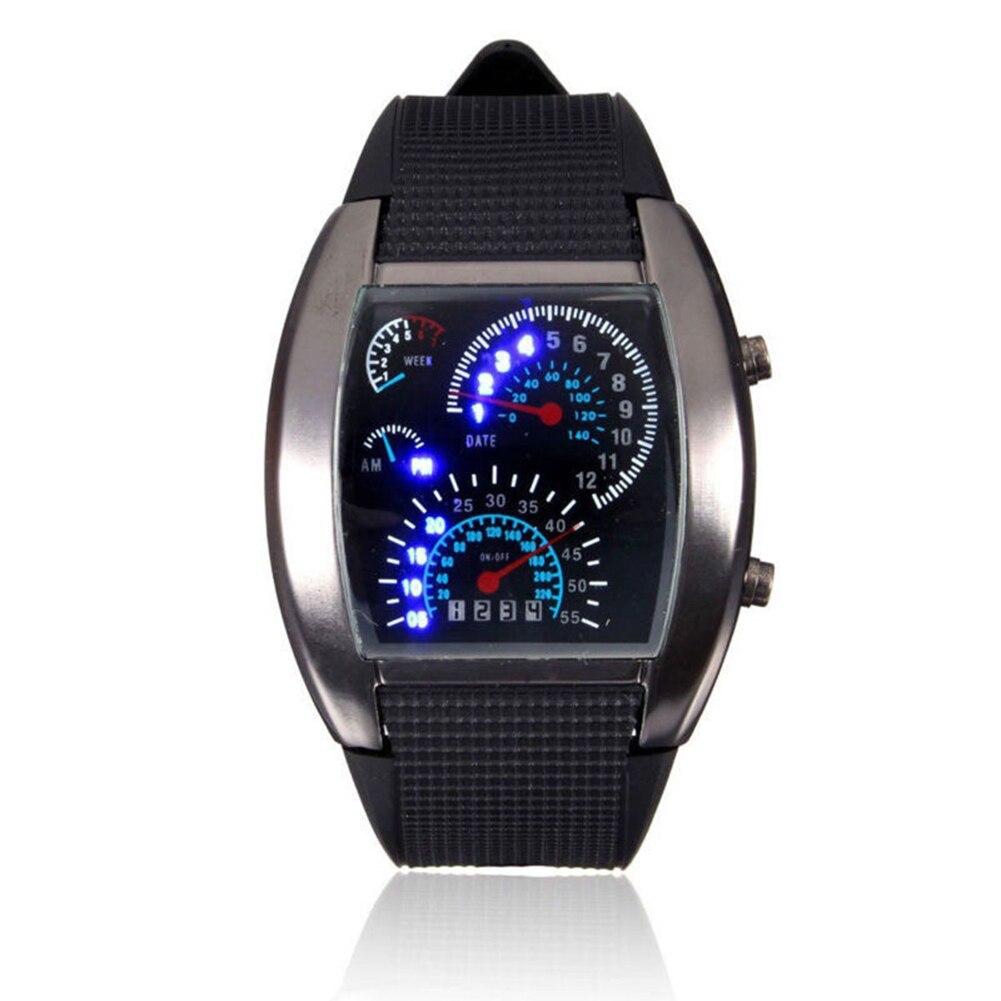 Men Fashion LED Sport Rubber Band Digital Week Date Dashboard Pattern Dial Watch Mas-culino Fashion Men's Watch Large Dial Milit 4