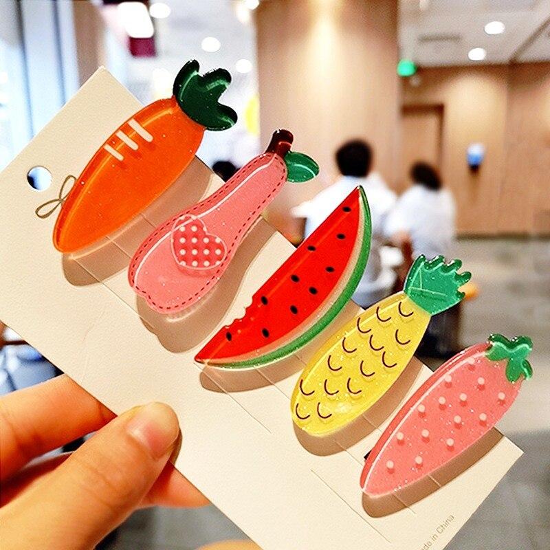 1pcs Fashion Watermelon Pineapple Strawberry Pear Carrot Hairpin Girl Wild Bangs Cute Hair Clip Headwear Fashion Hair Accessorie