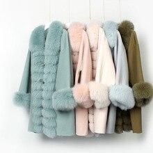 OFTBUY пальто с натуральным лисьим мехом 90% шерсть 10% кашемир комбинированная верхняя одежда зимняя куртка женская куртка на пуговицах Уличная Повседневная теплая