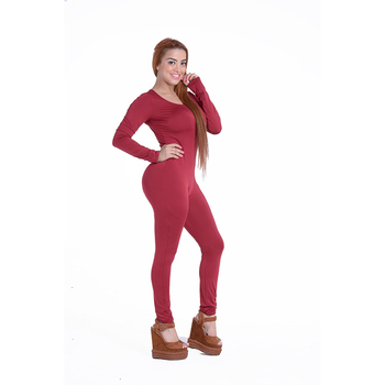 Sexy White O Neck New Bodycon Jumpsuit Long Women 2020 Fashion Pants Color New long sleeve Red Solid Black Wine Jumpsuits Romper 5
