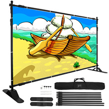 VEVOR 8ftx10ft Backdrop Banner Stand Step and Repeat for Trade Show Wall Exhibitor Photo Booth Background Adjustable