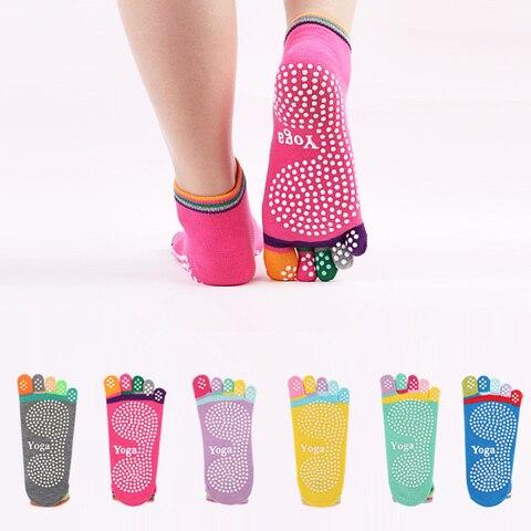 Dedo do pé Meias de Yoga Meias de Algodão com Apertos Pontos de Silicone Lote Feminino Cinco Colorido Anti-skid Esportes Não Deslizamento ue 34-39 2 Par –
