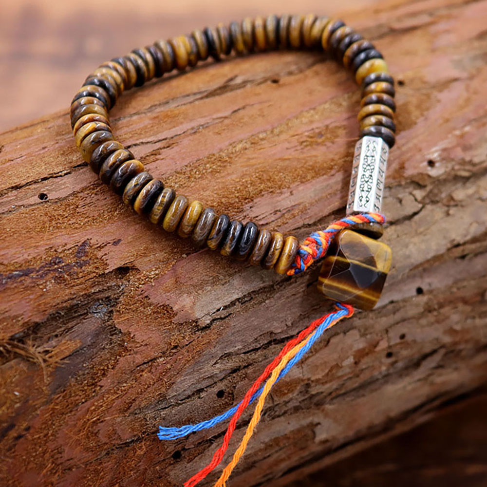 New Tiger Eye Natural Stone Tibetan Buddhist String Bracelet Carved Amulet Charm for Women Men Handmade Jewelry Pulsera