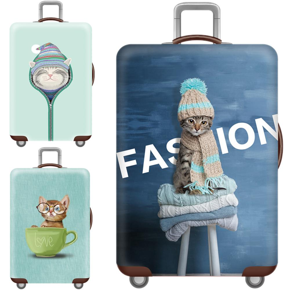 Kawaii 3D Cat Animal Luggage Cover Protective Case Thicken Waterproof Elastic Dog Suitcase Cover 18-32 Ince XL Travel Accessorie