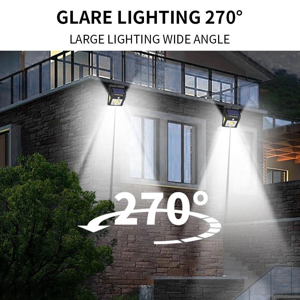 37 светодиодный светильник на солнечной батарее для улицы, трёхсторонний датчик движения PIR, лампа на солнечной батарее, светильник, энергосберегающий садовый декор, настенный светильник s