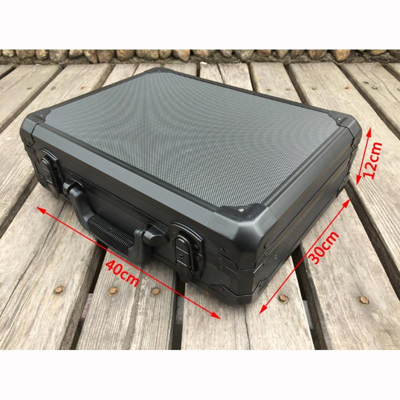 Купить с кэшбэком Aluminum Tool case suitcase toolbox File box Impact resistant safety case equipment camera case with pre-cut foam lining