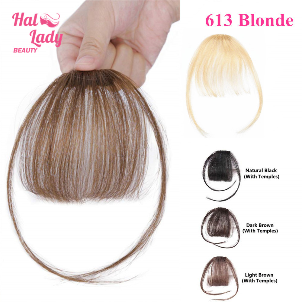 Halo Lady Beauty Clip In Bangs Human Hair Air Fringe Bangs Invisible Brazilian Blonde Hair Pieces Non-remy Replacement Hair Wig