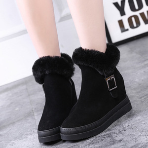 Image 3 - Womens Snow Boot Genuine Leather Female Ankle Boots 2019 Winter Fashion Buckle Woman Snow Boots Women High Heels Winter Shoes