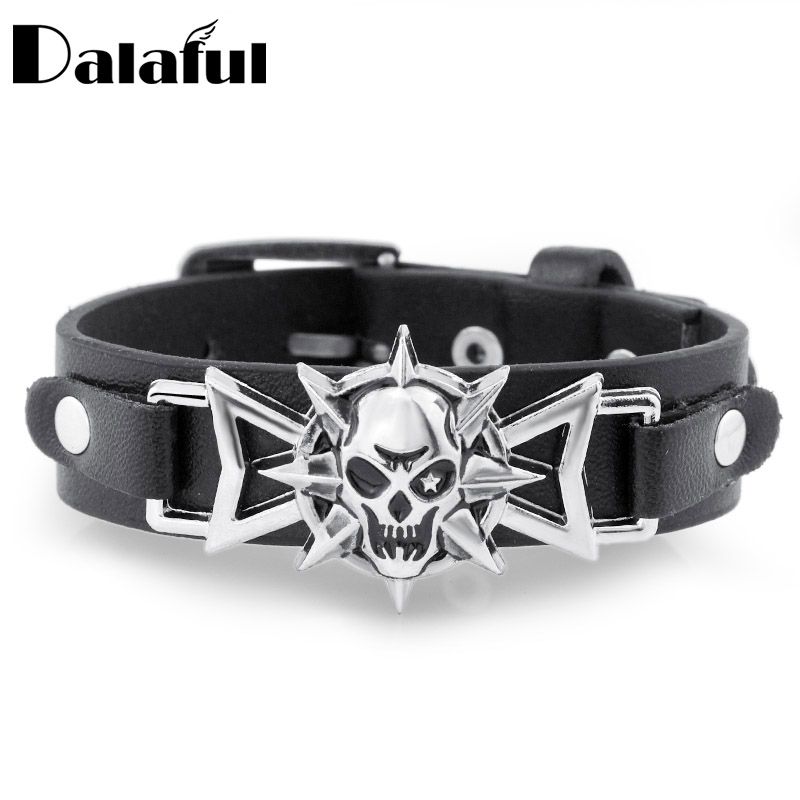 2018 Skeleton Skull Star Eye Punk Gothic Rock Leather Belt Buckle Bracelets For Women Men Bracelets & Bangles S302 image