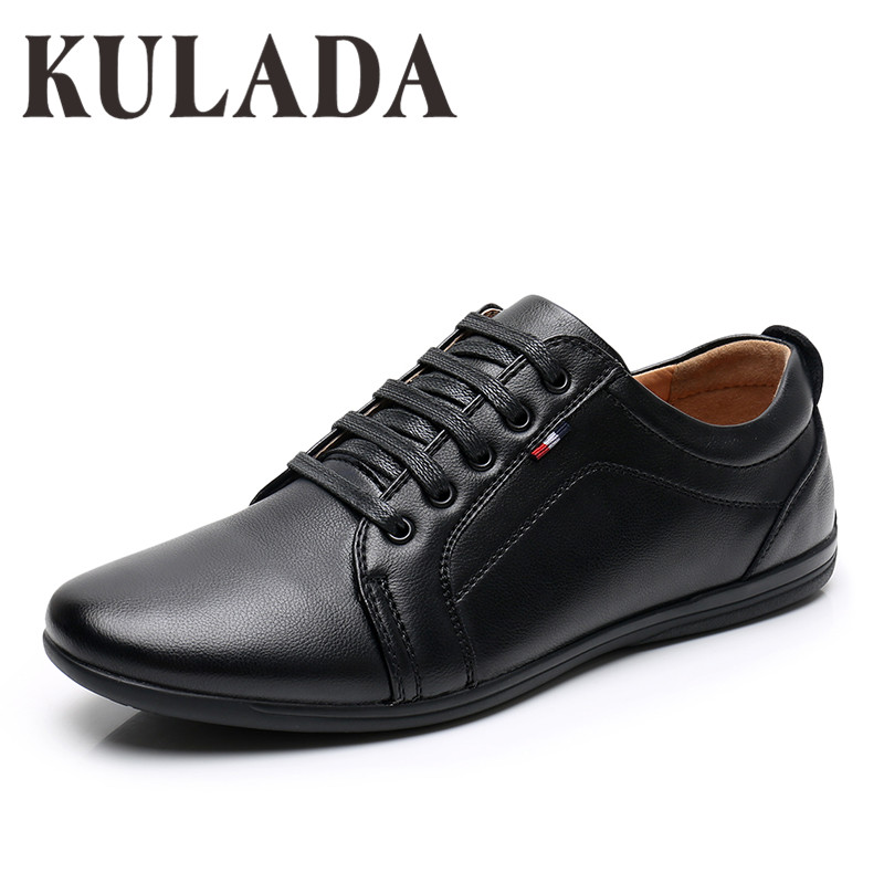 KULADA Newest Shoes Men's Casual Shoes Fashion Men Leather Comfortable Men Lace-up Hand-Made Shoes