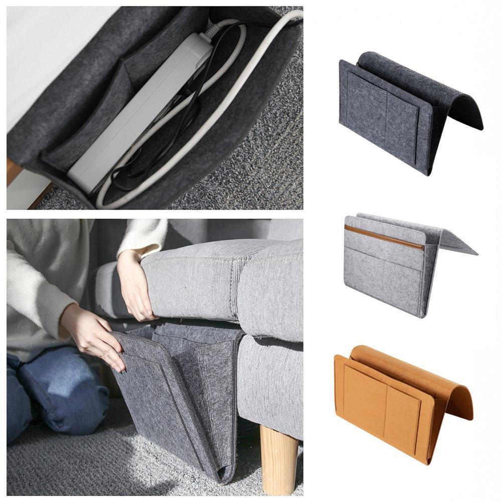 Storage Organizer Felt Bedside Hanging Storage Bags Sundries Control Mobile Pockets 2 Book Inner Remote Phone With T5S2