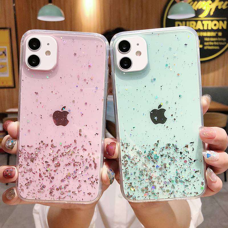 Luxury Glitter Silicone Case For Iphone Se 2020 11 Pro Xs Max X Xr Transparent Soft Ultra Thin Case For Iphone 8 7 6s 6 Plus 5 S