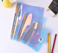 A5 A6 A7 PVC Rainbow laser Transparent Notebook diary Cover Glitter Loose leaf Note Book Planner Clip Office Supplies Journal